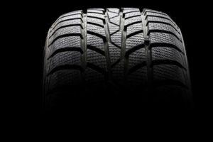 Studio shot of a black car tire