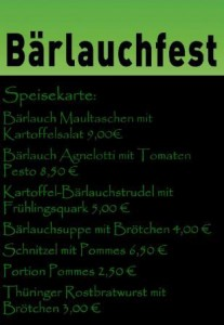 Speisekarte Baerlauchfest 16